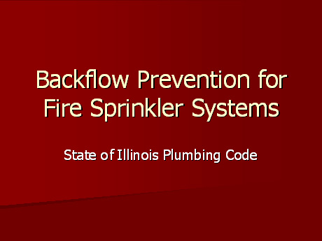 Backflow Prevention PowerPoint